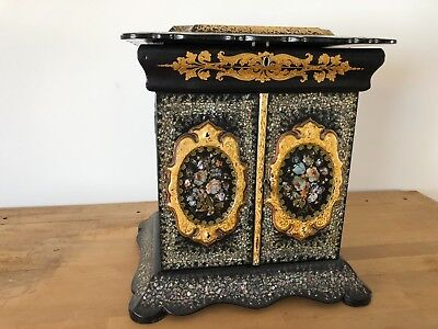 Antique Mid 19th Century English Ornate Mother of Pearl inlay Jewellery Box