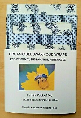 Beeswax Food Wraps 5 piece family pack Say no to cling wrap Great value
