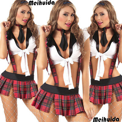 US Womens School Girl Outfit Fancy Dress Costume Uniform Plaid Skirt Lingerie