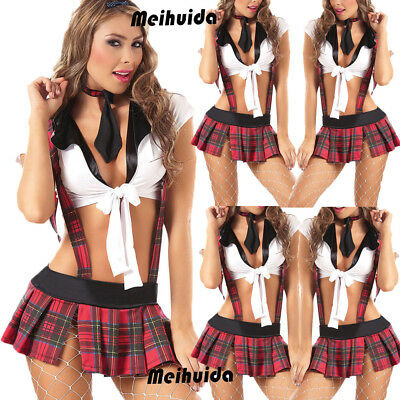 Sexy Womens Lingerie School Girl Uniform Dress Costume Outfit Roleplay US