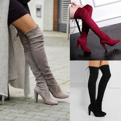 Womens Ladies Thigh High Boots Over The Knee Party Stretch Block Mid Heel Uk