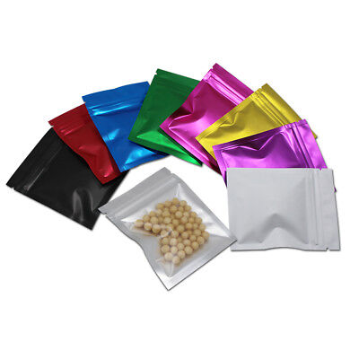 Aluminum Foil Zipper Frosted Flat Bag Front Clear Colorful Mylar Food Pouches