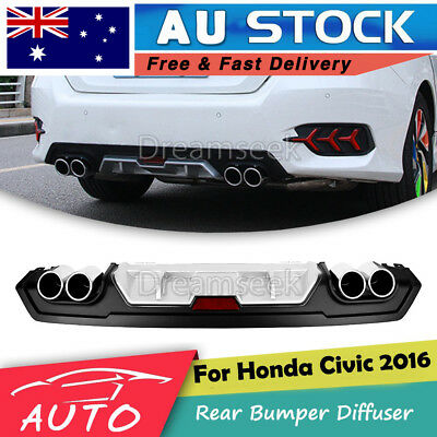 JDM Rear Bumper Diffuser For 2016 2017 Honda Civic Dual Exhaust Tip Sport Style