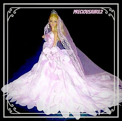 New Barbie doll clothes outfit princess wedding dress gown pink wedding gown.
