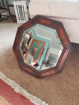 Small Antique Arts And Crafts Octagonal Bevelled Mirror