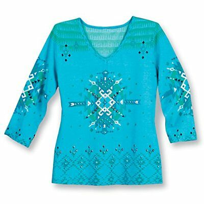 Collections Women's Embellished Southwest Aztec Pattern V-Neck 3/4 Sleeve Top,