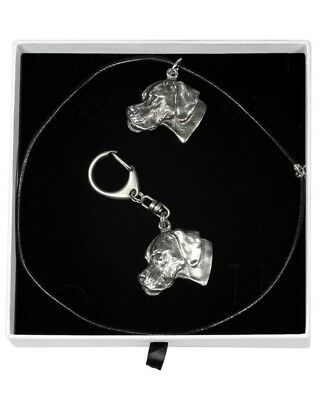 Pointer - necklace, keyring, set with a dog in white box, Art Dog USA
