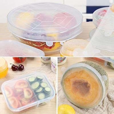 6Pcs Reusable Silicone Plastic Food Fresh Keeping Wrap Stretch Seal Bowl Cover