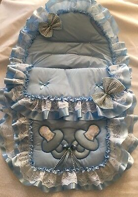Stunning Romany Car Seat Cosy Toes/Footmuff Decorated With Blue & Silver Dumm