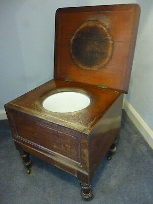 Antique Victorian Mahogany Commode with Ceramic Chamber Pot