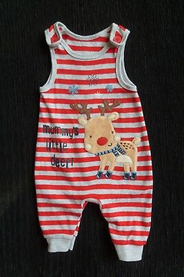 Baby clothes UNISEX BOY GIRL NEW! red/grey rudolph reindeer christmas dungarees