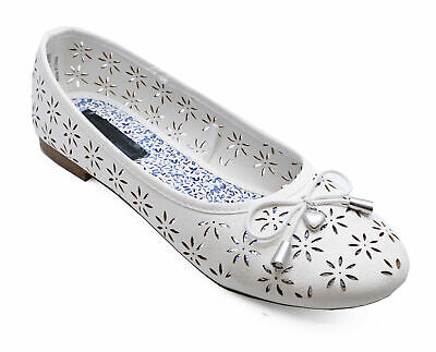 Girls Slip-On White Comfy Dolly Ballerina Pumps Kids Pretty Flat Shoes Sizes 12-