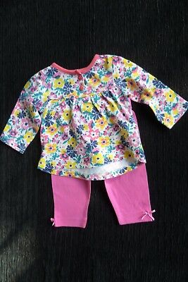 Baby clothes GIRL 0-3m outfit bright floral dress-style top/pink leggings C SHOP