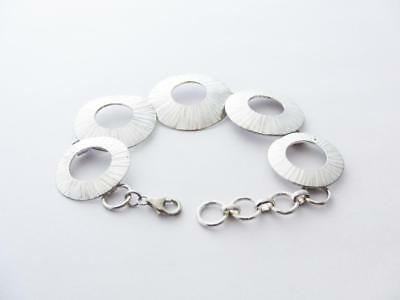 Exclusive Artisan Handmade Disc Shape Pure 925 Sterling Silver Bracelet B1-10