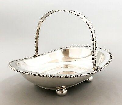 Antique silver plate Atkin Bros oblong swing handle fruit bowl beaded bun feet