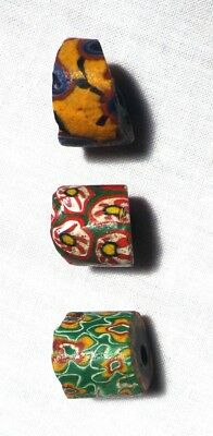BEADS - VENETIAN GLASS Slave / Trade Beads - Mixed Colors (3) Total