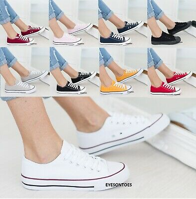 Ladies Womens Flat Lace Up Girls Pumps Canvas Plimsolls Trainers Shoes Size 3-8