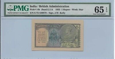 1935 British India One Rupee 1935 GEM UNC PMG 65 EPQ Ultra RARE Bill Note