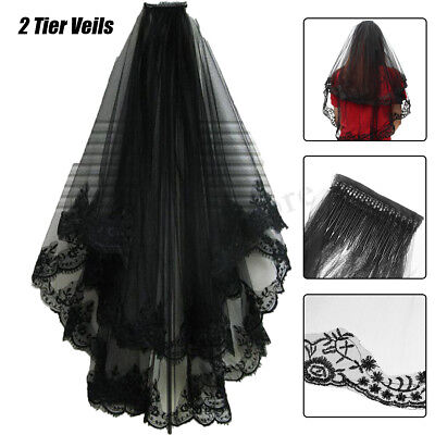 2 Layer Black Lace Wedding Veil Bridal Hair Long Tulle Cathedral Wedding Costume
