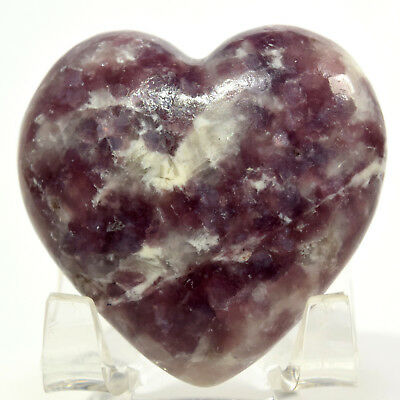 48mm Deep Purple Lepidolite Heart Sparkling Natural Lavender Mineral - Brazil