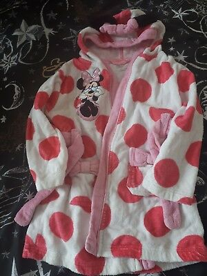 Minnie Mouse Dressing Gown Childrens Disney Store Pink Hooded Robe 3 Years