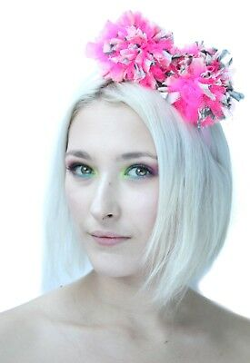 Pink Pom Pom Crown Headband Bridal Festival Burlesque Headdress