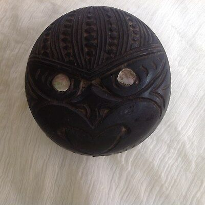 Maori carved pot from New Zealand