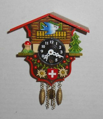 Vintage Swiss Chalet Miniature Novelty Cuckoo Clock Brass Pendulum NOS Works