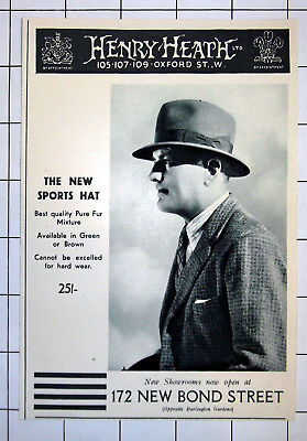 THE NEW SPORTS HAT 25/- Henry Heath Ltd Oxford St London 1935 Advert