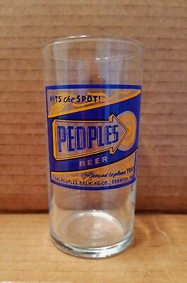 Vintage People's Beer Glass Chaser Oshkosh Wisconsin