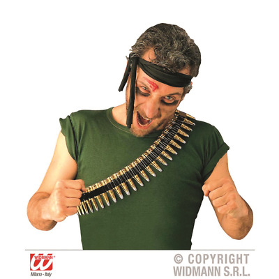 Cheap Light Thin PVC 2 Piece Bullet Belt Strip Army Mexican Rambo Fancy Dress