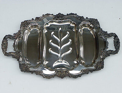 "Vtg 23 1/2"" Silverplate 2-Handled Meat Platter Tray-3 Wells-Ray E Dodge-Tree Ctr"