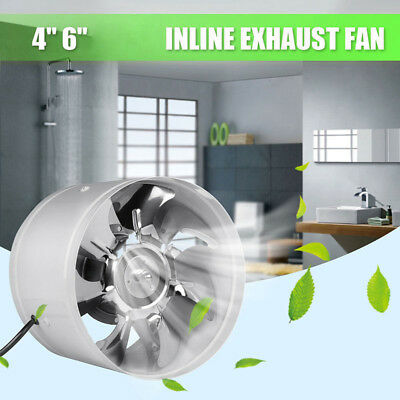 4Inch/6Inch Inline Duct Fan Booster Exhaust Blower Air Cooling Vent Metal Blades