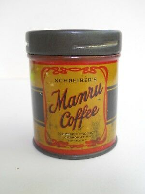 Schreiber's MANRU COFFEE Tin Free SAMPLE Size for 5 Cups Antique 1920's