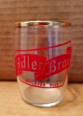 Vintage Adler Brau Appleton Beer Barrel Glass Chaser Wisconsin