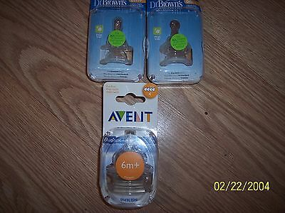 Lot of 6 baby bottle nipples 4 Dr Browns6m+ Level 3 & 2 Avent level 4 fast flow