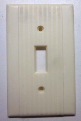 Vintage Peco Switch Wall Plate Cover Art Deco Classic Ribbed Beige Bakelite