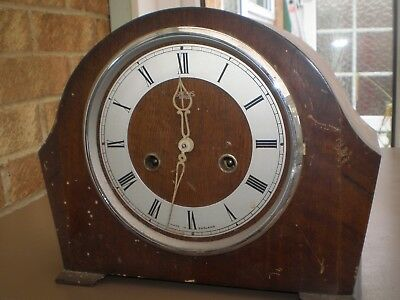 Smiths Enfield Antique/Vintage Wooden Pendulum Mantel Clock for Spares or Repair