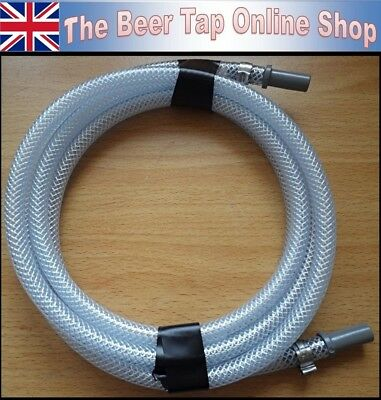 "6mm ID Flexible PVC CO2 Beer Gas Line with John Guest 3/8"" OD Stem or Hose Clamp"