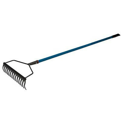 Heavy Duty All Carbon Steel 14 Tooth Garden Soil Rake Metal Handle Gardening