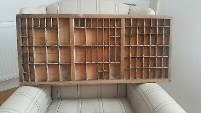 Antique genuine wooden printers drawer tray - wall display