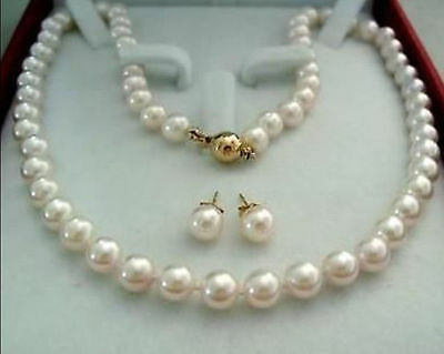 """14K Gold Clasp 8-9MM AAA+ White Akoya Cultured Pearl Necklace Earring 18"""""""