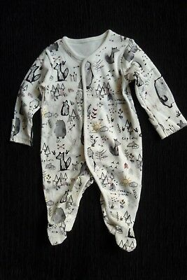 Baby clothes UNISEX BOY GIRL newborn 0-1m NEW! cream woodland animals babygrow