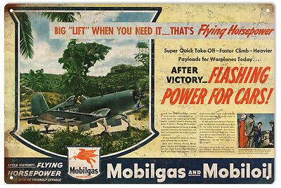 Mobilgas Flying Horsepower Warplanes Advertisement Sign