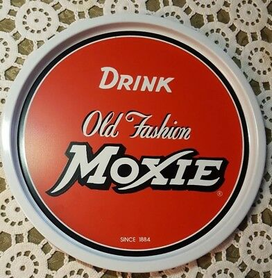 """drink Old Fashion Moxie"" ♡ 11"" Round Tin Tray.♡ Reproduction"