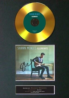 GOLD DISC SHAWN MENDES Illuminate Signed Autograph Mounted Print A4 80