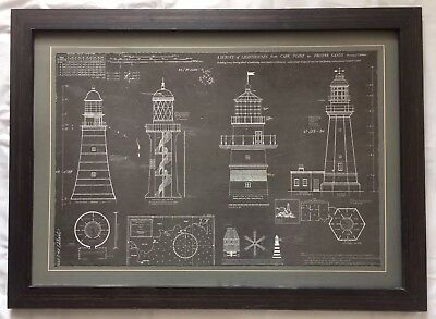 "Framed Cape Point to Froyne Sands Lighthouse Blueprint By T. Wellowes 32"" X 23"""