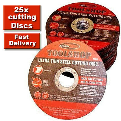 25 Metal Cutting Disc Flat Blade Stainless Steel 115mm Air Cut off Thin 4 1/2""