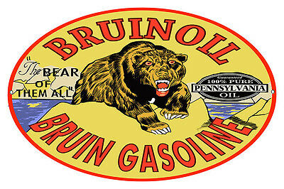 Oval Bruin Oil & Gasoline Motor Oil Sign 9X14