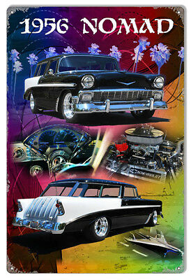 1956 Chevy Nomad Classic Sign By Artist Phil Hamilton 12x18